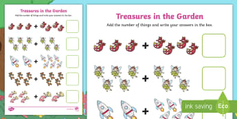 Treasures in the Garden Up to 10 Addition Sheet - total, altogether, sum, add, solve