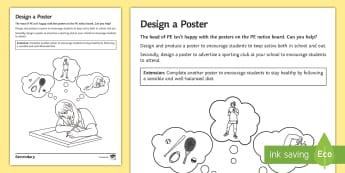 PE Cover Lesson - Design a Poster Activity Sheet - PE, KS3, KS4, Cover, Worksheets, Independent, worksheet