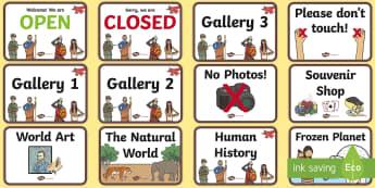 Museum Role Play Signs - museum, role play, signs, role play signs, museum role play, museum signs, signs for role play, museum role play, role play props