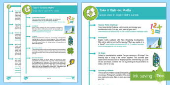 KS2 Take It Outside: Maths Teaching Ideas - Forest School, Nature Detectives, use and apply Maths, Physical maths, investigate, explore, outdoor, woodland learning, twinkl outdoor and woodland learning owl get it