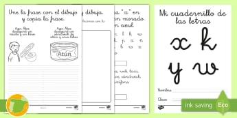 Cuadernillo de lecto: La K, la X y la W - lecto, leer, lectura, sonidos, letra , lecto-escritura, letra k, letra x, letra w