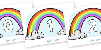 Numbers 0-50 on Rainbows - 0-50, foundation stage numeracy, Number recognition, Number flashcards, counting, number frieze, Display numbers, number posters
