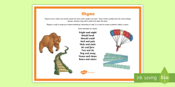 Rhyme Poetry Terms A4 Display Poster - Literacy, Interpreting, analysing, evaluating, english, poetry, writing, poems, poetry, rhyme, gloss