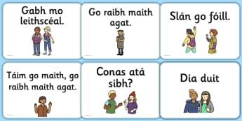 Greetings A5 Flashcards Gaeilge - gaeilge, greetings, a5, flashcards, flash cards, cards