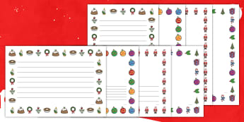 Christmas Page Border (Landscape) - Christmas, xmas, Happy Christmas, tree, advent, nativity, page border, border, writing template, writing aid, santa, father christmas, Jesus, tree, stocking, present, activity, cracker, angel, snowman,