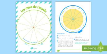 Pack d'affichage : La roue des mois de l'année - Mois, months, year, an, année, cycle 1, display, poster, affichage, panneau,French