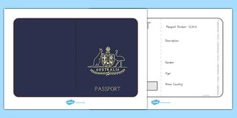 Australian Passport Child Template - passport, airline, australia