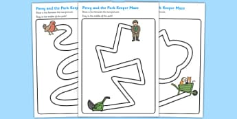 Pencil Control Path Worksheets to Support Teaching on Percy the Park Keeper - pencil
