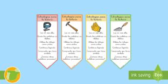 Puntos de libro: Estrategias para la lectura - comprensión, leer, lee, lengua, literatura, castellano, marcapáginas,Spanish