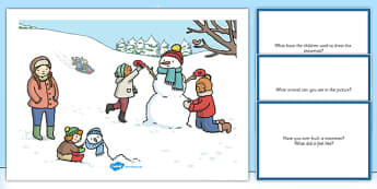 Winter Snowman Scene and Question Cards - winter snowman, scene, question, cards