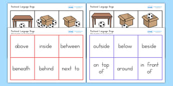 Positional Language Bingo - vocab, bingo, lotto, games, words