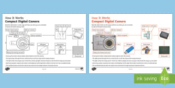 Compact Digital Camera - How It Works Activity Sheet - How it Works, shutter, pixel, image, lens, digital camera, binary, primary, ks2, design and technolo