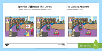 The Library Spot the Difference Activity Sheet - English, library, oral language, speech and language,pair work, spot the difference, SLT,Irish