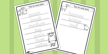 The Three Billy Goats Gruff Trace the Words Worksheets - sheet