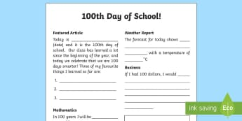 100th Day of School Newsletter Activity Sheet - 100th Day of School, 100, one hundred, 100 days smarter