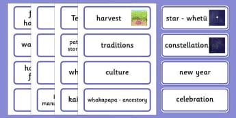 Matariki Word Cards - nz, new zealand, matariki, word cards, word, cards