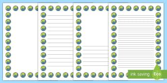 Earth Portrait Page Borders- Portrait Page Borders - Page border, border, writing template, writing aid, writing frame, a4 border, template, templates, landscape