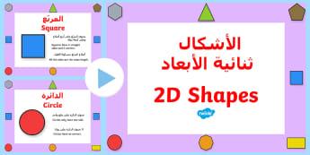 What Am I? 2D Shape Properties PowerPoint Arabic/English - 2D Shape Properties Powerpoint - 2D shapes, two dimentional shapes, shape properties, 2D shape prope