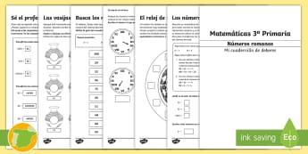 Cuadernillo de deberes: Números romanos - 3º Primaria - números romanos, matemáticas, Nero, reloj de sol, deberes, desafíos matemáticos, problemas, calc