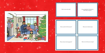Christmas Morning Scene and Question Cards - christmas morning, scene, questions, cards