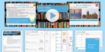 Unseen Poetry Edexcel Style 1 Lesson Pack  - Unseen poetry, contemporary poetry, edexcel, GCSE english literature, english literature paper 2, se