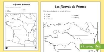 Feuille d'activités : Les fleuves - Cartes géographiques, map,cycle 2, cycle 3,  KS2, fleuves, France, rivers, activity sheet, feuille,