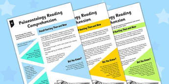 Palaeontology Differentiated Reading Comprehension Activity - palaeontology, reading, comprehension