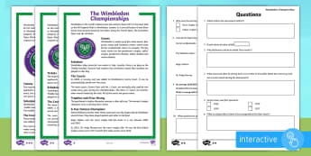 KS2 Wimbledon Differentiated Go Respond Activity Sheets - KS2 Wimbledon Differentiated Go Respond Activity Sheets - Wimbledon, reading, comprehension, differe