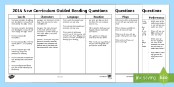 2014 New Curriculum Guided Reading Questions Display Questions - AF Guided Reading Questions Mat - guided reading, questions, mat, reding