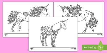 Unicorn Mindfulness Coloring Activity Sheets - unicorn, color, coloring, activity, art, creativity, fantasy, worksheets