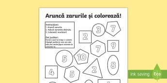 Figuri geometrice 2D   Aruncă zarurile și colorează suma Activitate - figuri plane, matematică, geometrie, numerație, adunăr