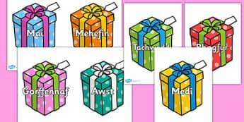 Months on Birthday Presents Cymraeg - cymraeg, months, birthday, presents, months of the year