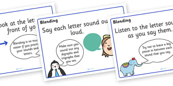 Blending Posters - blending, literacy, english, words, sounds