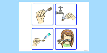 Sequencing Cards Brushing Teeth - sequencing, cards, teeth, brush