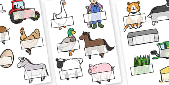 Editable Self Registration Labels (On the Farm) - Self registration, register, Toys, editable, labels, registration, child name label, printable labels, farm, pig, cow, chicken, goat, tractor, farmer, chicken, goat, sheep, hay, milk, eggs