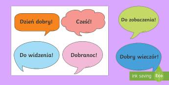 Karty Powitanie i pożegnanie - grzeczność, wychowanie, zachowanie, wychowawcza, początkowa, wychowywać, dzień, dobry,Polish