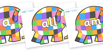 Foundation Stage 2 Keywords on Elmer to Support Teaching on Elmer - FS2, CLL, keywords, Communication language and literacy,  Display, Key words, high frequency words, foundation stage literacy, DfES Letters and Sounds, Letters and Sounds, spelling