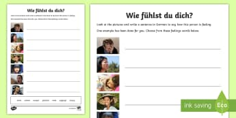 How Are You Feeling? Activity Sheet German - Emotions, Feelings, German, MFL, Languages, Writing German sentences, Gefühle, Wie fühlst du dich