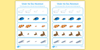 Under the Sea Adventure Size Matching Activity Sheet - finding nemo, finding dory, under the sea adventure, size matching, worksheet