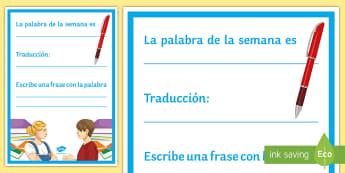 Word of the Week Display Poster Spanish - classroom, organisation, vocabulary, teacher, tools, visual, aid