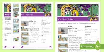 Mini King Cakes Classroom Recipe - Mardi Gras, Fat Tuesday, Shrove Tuesday, Carnival, pancake day, food, baking, king cakes