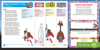 EYFS Superheroes Science Experiments Resource Pack - Superheroes, superhero, cola, coke, mentos, fountain, magnet, superman, marshmallow,