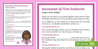 Sacrament of First Eucharist Prayers of the Faithful Print-Out-Irish - Prayers of the Faithful, ROI, Ireland, sacrament, First Eucharist, Roman Catholic, prayer service, a