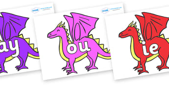 Phase 5 Phonemes on Dragons - Phonemes, phoneme, Phase 5, Phase five, Foundation, Literacy, Letters and Sounds, DfES, display
