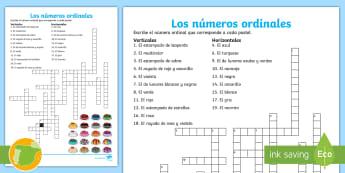 Crucigrama: Los números ordinales de 1 a 20 Crucigrama - números, números naturales, número, contar, escribir números, números ordinales, números cardi
