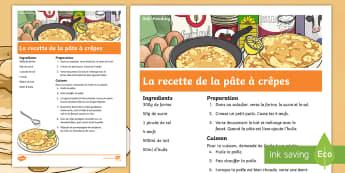 La pâte à crêpes Recette - La Chandeleur , recette, recipe, pâte à crêpes, crêpes, pancake batter, KS2, cycle 3, cycle 2,Fr