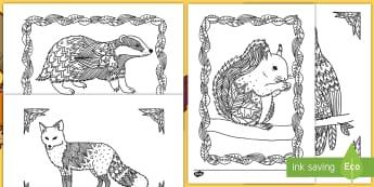Fall Animals Mindfulness Coloring Activity Sheets - fall, color, coloring, seasons, autumn, art, worksheets