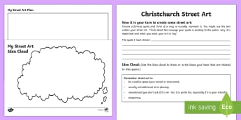 Design Your Own Christchurch Street Art Activity Sheet - New Zealand Natural Disasters, earthquake, tsunami, volcano, monsoon, hurricane, flood, tornado, wor