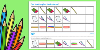 Back to School Complete the Pattern Activity Sheet, worksheet