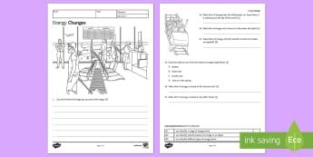 KS3 Energy Changes Homework Activity Sheet